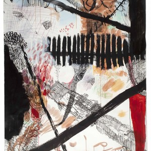 11. Garten 2012, acrylic, marker, water color and colored pen on paper, 238 x 145 cm klein